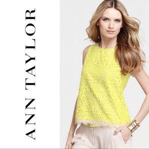 Ann Taylor Yellow Lace Tank Nude Zipper 0P